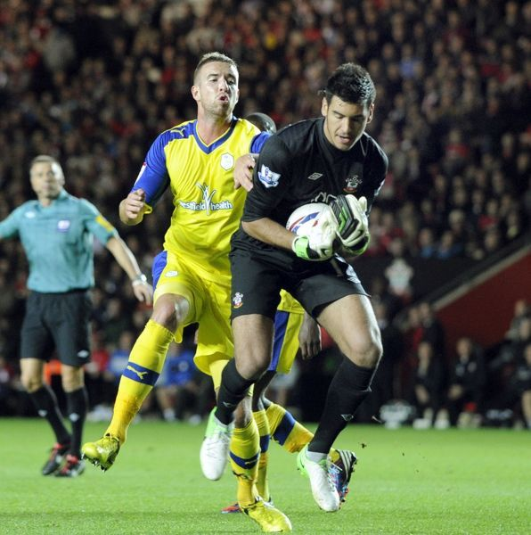 Southampton v Sheffield Wednesday.....Mark Beevers on Saints keeper Paulo Gazzaniga