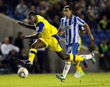 Brighton v Sheffield Wednesday....Michail Antonio fires in a shot