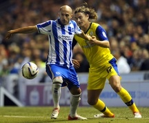 Brighton v Sheffield Wednesday....Owls Nejc Pecnik tries to pass Albions Bruno Saltor