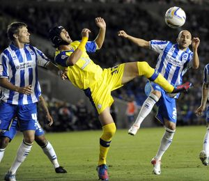 Brighton v Sheffield Wednesday....Owls Miguel Llera battles it out with Albion pair