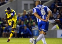 Brighton v Sheffield Wednesday....Jermaine Johnson fires in a shot