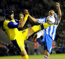 Brighton v Sheffield Wednesday....Owls Migul Llera with Albions Bruno Saltor