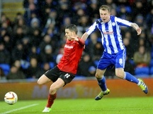 Cardiff City v Sheffield Wednesday.....Owls Chris Lines stops Citys Craig Conway
