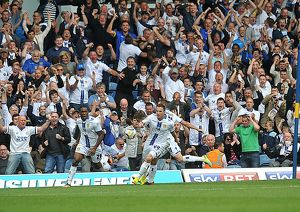 Leeds Ross McCormack scores and celebrates