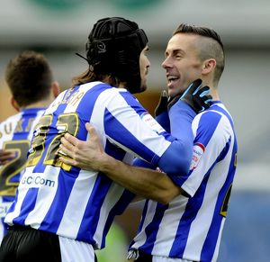 Sheffield Wednesday v Bristoil City.....Miguel Llera celebrates his goal with David