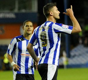 Sheffield Wednesday v Fulham.....Owls goal scorer Gary Madine celebrates his penalty
