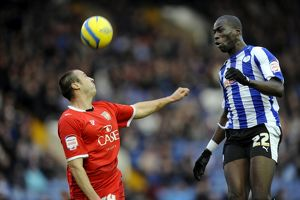 Sheffield Wednesday v MK Dons....Mamady Sidibe beats Anthony Kay