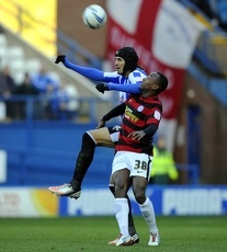 Sheffield Wednesday v Peterborough..miguel llera beats Saido Berahino