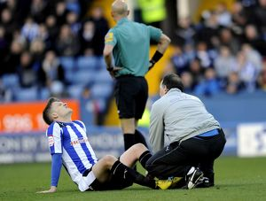 Sheffield Wednesday v Peterborough..Paul Corry injured