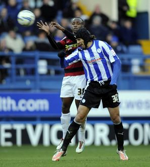 Sheffield Wednesday v Peterborough Utd....Owls Miguel Llera beats Posh Saido Berahino