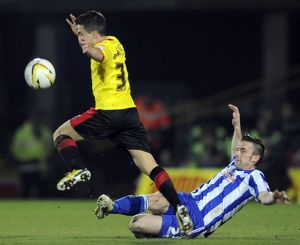 Watford v Sheffield Wednesday.....Owls David Prutton stretches out to stop Watfords