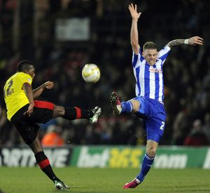 Watford v Sheffield Wednesday.....Connor Wickham with Lloyd Doyley